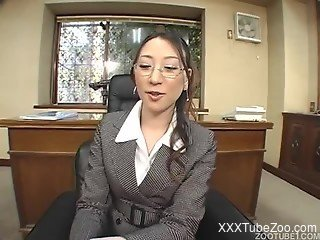 Zoo Japanese girl in glasses has sexual relations with dog